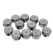 12 unids. Entremeio Mini Flor 6mm em ABS Folheado Grafite GF-EN58