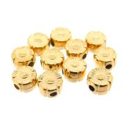 12 unids. Entremeio Mini Flor 6mm Folheado Ouro 18k OF-EN58