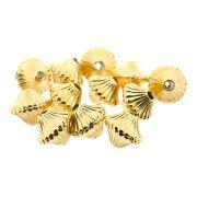 12 unids. Peãozinho Frisado 7mm em ABS Folheado Ouro 18k OF-EN59