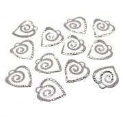 12 unids. Pingente Coração Espiral 9mm Folheado Grafite GF-PIN563