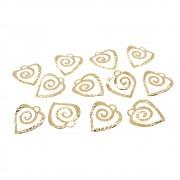12 unids. Pingente Coração Espiral 9mm Folheado Ouro 18k OF-PIN563