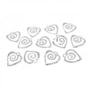 12 unids. Pingente Coração Espiral 9mm Folheado Prata PF-PIN563