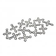 12 unids. Pingente mini crucifixo folheado em Grafite GF-PIN106