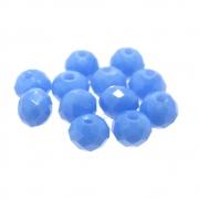12 unids. Rondelzinho Facetado Cristal Azul Cerúleo 6mm CACG-235
