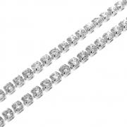 1m Corrente Zircônia Diamond 2,5mm Folheado Prata PF-CR89