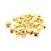 24 unids Entremeio dadinho ABS 3mm Folheado Ouro 18k OF-EN119