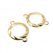 2 unids. Elo Círculo Vazado Diamantado 10mm Folheado Ouro 18k OF-EL232
