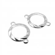 2 unids. Elo Círculo Vazado Diamantado 10mm Folheado Prata PF-EL232