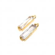 2 unids. Pingente Baguete Zircônia 10mm Folheado Ouro 18k OF-PIN672