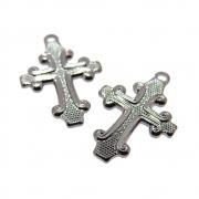 2 unids. Pingente Crucifixo Reticulado 15mm Folheado Grafite GF-PIN749