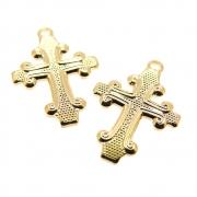 2 unids. Pingente Crucifixo Reticulado 15mm Folheado Ouro 18k OF-PIN749