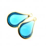 2 unids. Pingente Gota Lágrima Cristal Topázio Azul 10x14mm Folheado Ouro 18k OF-PIN753