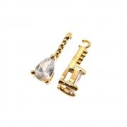 2 unids. Pingente Gota Zircônia Diamond 5x7mm Folheado Ouro 18k OF-PIN685