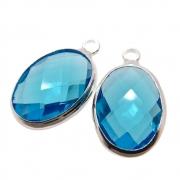 2 unids. Pingente Oval Facetado Cristal Azul Caribe 10x14mm Folheado Prata PF-PIN744