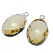 2 unids. Pingente Oval Facetado Cristal Topázio Lemon 10x14mm Folheado Prata PF-PIN743
