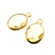 2 unids. Pingente Oval Facetado Cristal Topázio Lemon 8x10mm Folheado Ouro 18k OF-PIN736