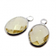 2 unids. Pingente Oval Facetado Cristal Topázio Lemon 8x10mm Folheado Prata PF-PIN736