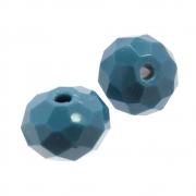 2 unids. Rondel Facetado Cristal Azul Montana 12mm CACG-253