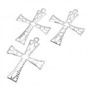 3 unids. Pingente Cricifixo Rendado Vazado 22mm Folheado Prata PF-PIN748