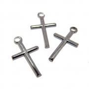 3 unids. Pingente Crucifixo Palitinho 12mm Folheado Grafite GF-PIN747