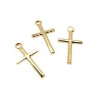 3 unids. Pingente Crucifixo Palitinho 12mm Folheado Ouro 18k OF-PIN747