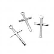 3 unids. Pingente Crucifixo Palitinho 12mm Folheado Prata PF-PIN747