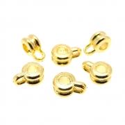 6 unids. Contra Argola Para Fio até 2,5mm em ABS Folheado Ouro 18k OF-CA30