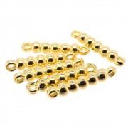 6 unids. Elo Bolinhas 20mm em ABS Folheado Ouro 18k OF-EL210