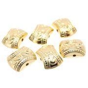 6 unids. Entremeio Esculpido 11mm em ABS Folheado Ouro 18k OF-EN67