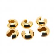 6 unids. Entremeio Fixador Anilha Lisa 6mm Folheado Ouro 18k OF-EN122