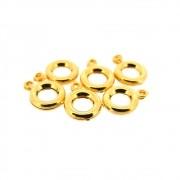 6 unids. Pingente Argola Dupla Face 8mm Folheado Ouro 18k OF-PIN432