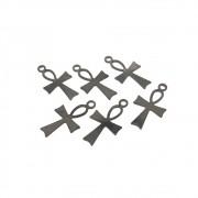 6 unids. Pingente cruz ansata mini folheado em Grafite GF-PIN156