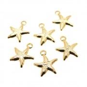6 unids. Pingente Estrela do Mar 10mm Folheado Ouro 18k OF-PIN627