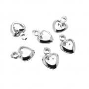6 unids. Pingente Mini Coração Zircônia 5mm Folheado Prata PF-PIN767