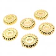 6 unids. Pneuzinho Estriado 10mm Folheado Ouro 18k OF-EN128