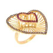 Anel Semijoia Coração Cravejado Rubi e Zircônias Rosa Folheado Ouro 18k AN022