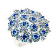 Anel Semijoia Cristal Azul Niágara Cravejado Zircônias Diamond Folheado Prata AN037