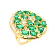 Anel Semijoia Dukhan Cristal Esmeralda Cravejado Zircônias Diamond Folheado Ouro 18k AN088