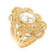 Anel Semijoia Durga Cristal Cravejado Zircônias Folheado Ouro 18k AN009