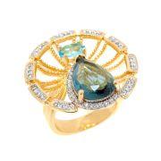 Anel Semijoia Isis Cristal Topázio Azul e Água Marinha Cravejado Zircônias Folheado Ouro 18k AN006