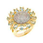 Anel Semijoia Maitry Cristal Água Marinha Cravejado Zircônias Folheado Ouro 18k AN014