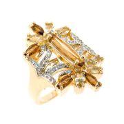 Anel Semijoia Manipur Cristal Topázio Imperial Cravejado Zircônias Folheado Ouro 18k AN097