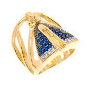 Anel Semijoia Nossa Senhora Aparecida Cravejado Zircônias Diamonds e Azuis Folheado Ouro 18k AN026