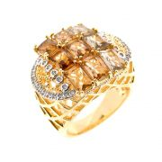 Anel Semijoia Pradesh Cristal Fumê Cravejado Zircônias Folheado Ouro 18k AN111