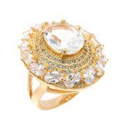 Anel Semijoia Viena Cristal Cravejado Zircônias Folheado Ouro 18k AN019