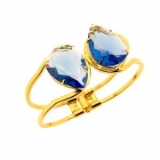 Bracelete Articulado Cristal Topázio Azul Ouro 18k PUPM-40