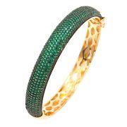 Bracelete Semijoia Hermes Cravejado Zircônias Esmeralda Folheado Ouro 18k PU005