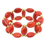 Bracelete Summer Coral Esponja e Contas Folheado Ouro 18k PUPM-51