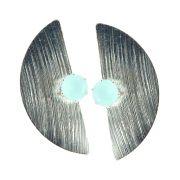 Brinco Click Shape Cristal Água Marinha Leitosa Folheado Prata BRPM-401