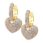 Brinco Semijoia Argola Coração Cravejado Zircônias Diamond Folheado Ouro 18k BR014